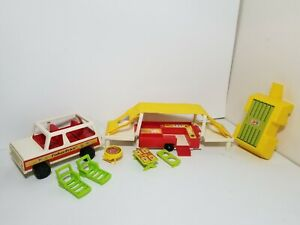 Vintage Fisher Price Play Family Car & Pop-Up Camper #992