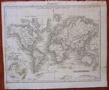 1849  PLANISFERIO Pomba Ed Mappamondo world map planisphere weltkarte planisfero