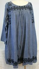 eShakti Blue Tunic Shirt/Dress Emboirdered Denim-Look Sz 4X 30W Half-Sleeve