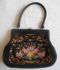 Vintage Tasche bestickt geblümt Handtasche Gobelin Handtasche sehr guter Zustand