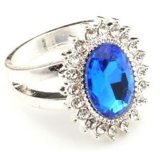 Zest Bright Gem Ring with Small Clear Diamantes on Silver Band Blue Size M