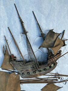 """Antique 1925 handmade Model Wooden Pirate  SHIP wood boat 17.5"""" -Repair Needed"""