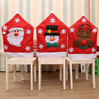Christmas Cartoon Chair Cover Santa Claus Elk Snowman Xmas Party Table Decor