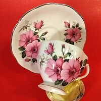 QUEENE ANNE CUP & SAUCER. FLUTED PINK FLORAL SCALLOPED GOLD TRIM VINTAGE