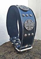 Bestia Maximus Halsband für große Hunde. Altsilber Deko. 100% Echtleder Handmade