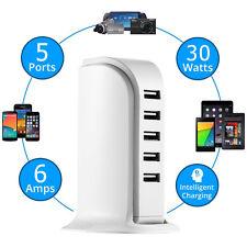 Universal 5-Port 30W USB Charging Dock Station Desktop Stand Smart Quick Charger