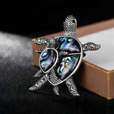 Elegant Natural Shell Alloy Turtle Animal Brooch Lapel Scarf Pin Women Jewelry