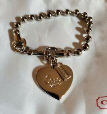 "Genuine Coach Ball Chain silver bracelet with heart charm 7"""