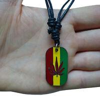 Reggae Bob Marley Cannabis Leaf Dog Tag Pendant Chain Necklace Choker For Men