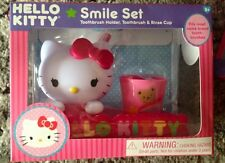 Hello Kitty Smile Set Toothbrush Holder Toothbrush & Rinse Cup Soft Bristles NEW