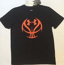 NWT youth Boys' YXS X-small UNDER ARMOUR t-shirt heatgear top BASKETBALL black