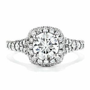 Women's Round Cut 1.20 Carat Moissanite Wedding Ring 14K White Gold Size M N O Q
