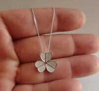 MICRO PAVE CLOVER NECKLACE PENDANT W/ LAB DIAMONDS / 925 STERLING SILVER /18''