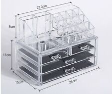 Acrylic Cosmetic Make Up Organiser Clear 4 Drawer Display Tray Storage Table