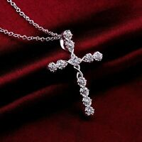Vintage New Silver Crystal Cross Pendant Necklace Chain Women's Cocktail Jewelry