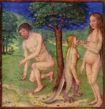 ADAM & Eve GIARDINO DELL'EDEN 15thc MANOSCRITTO MINIATO Christian 6x5 pollici stampa