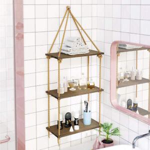 3Tier Rustic Hanging Wall Shelf Swing Rope Floating Shelves Living Room Bathroom