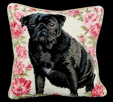"""Fine Needle Point Pug Dog Roses Square Decorative Throw Pillow 14x14"""""""