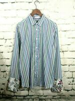 Ted Baker Men blue stripe shirt floral French cuff button up cotton size 5