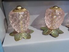 MAISON BLUE SET 6 PINK & GOLD PINEAPPLE GLASS  Drawer Cabinet Pulls Knobs