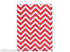 50 Paper Bags Merchandise Gift Sacks 8.5x11 Red White Chevron Christmas Holiday