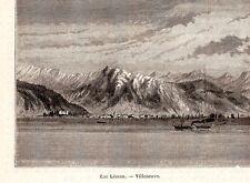 VILLENEUVE LAC LEMAN BATEAU VAPEUR STEAMER BOAT IMAGE 1880 PRINT