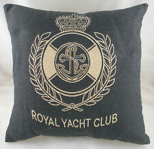 "18"" ROYAL YACHT CLUB Grey Denim Belgian Tapestry Cushion Evans Lichfield Nautica"