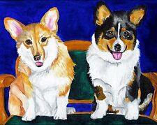 Pembroke Welsh Corgi Tri & Tan 8x10 Dog Art Print of Original Painting by Vern