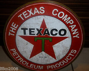"""TEXACO PETROLEUM PRODUCTS, ROUND 12"""" METAL WALL SIGN OIL/PETROL/GAS,USA/GARAGE"""