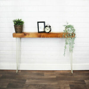 Console Radiator Table White Hair Pin Legs Solid Reclaimed Timber 14CM X 7CM