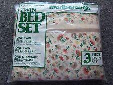 Vintage NIP MARLBOROUGH 3 pc Twin Sheet Set Floral Flat Fitted Pillow Case USA