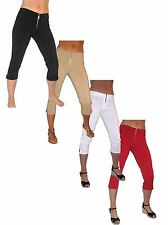 Ladies Skinny Stretch 3/4 Pedal Pusher Capri Pants Three Quarter NEW 6-18