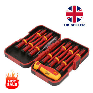 13pc/1000V Pro Electricians Insulated Electrical Hand Screwdriver Set with Box