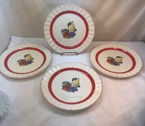 "Vtg 4pc 30-40's Cronin Pottery Fruit Pear Apple Grapes Red Trim 10"" Dinner Plate"