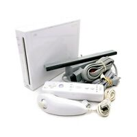 Nintendo Wii White Console RVL-001 Bundle w/ Wiimote, Nunchuck, & Cables TESTED
