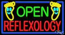 "New ""Open Reflexology"" 37x20 Border Real Neon Sign W/Custom Options 11290"