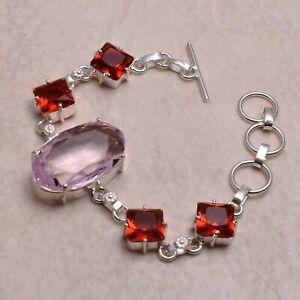 Pink Topaz Garnet Ethnic Handmade Bracelet Jewelry 19 Gms AB 79307