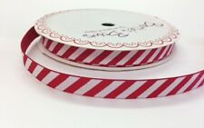 5m Bertie's Bows Candy Stripe 9mm Red Grosgrain Ribbon, Christmas, Wrap