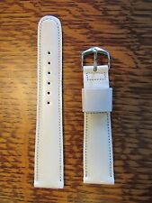 "Champion WHITE Genuine Scandia Leather Watch Strap Band 19mm 20mm 3/4"" Vintage"