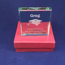 Personalised Engraved Glass Block Graduation Exam Congratulations Keepsake Gift