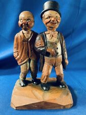 Vintage Anri carved wooden double figure cork & bottle opener barware Great!
