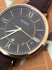 Fossil Original ES4099 Women's Jacqueline Wine Leather Rose Gold Watch 36mm NWT