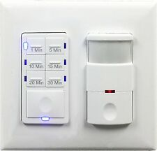 2-Gang 30-Min Fan Timer Bathroom Switch and Motion Sensor Light Switch Combo