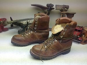 BROWN DISTRESSED CHIPPEWA LACE UP ENGINEER MOUNTAINEER TRAIL BOSS BOOTS 10 E