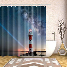 Bathroom Shower Curtain Decor Set Lighthouse Design Bath Curtains 12 hooks