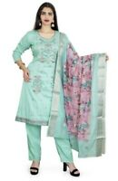 Details about  /Cotton Resham Embroidered Sky Blue Trouser Set With Digitally Printed Dupatta