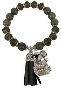 Koala Bear Gray Glass & Semi Precious Stone Bead Tassel Stretch Bracelet Jewelry