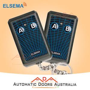 2 x KEY302 ELSEMA GARAGE REMOTES - ELSEMA FMR SERIES TRANSMITTER-10 DIP SWITCHES