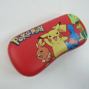 """Pokemon Eyeglasses Snap Case 2.5""""x6"""" Sunglasses Clamshell Red Glasses Container"""