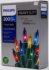 Philips Heavy Duty 200 ct Mini Lights Green Wire Indoor/Outdoor ~ Free USA Ship